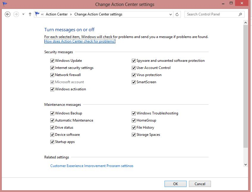 Action Center Message Setting in Windows 8