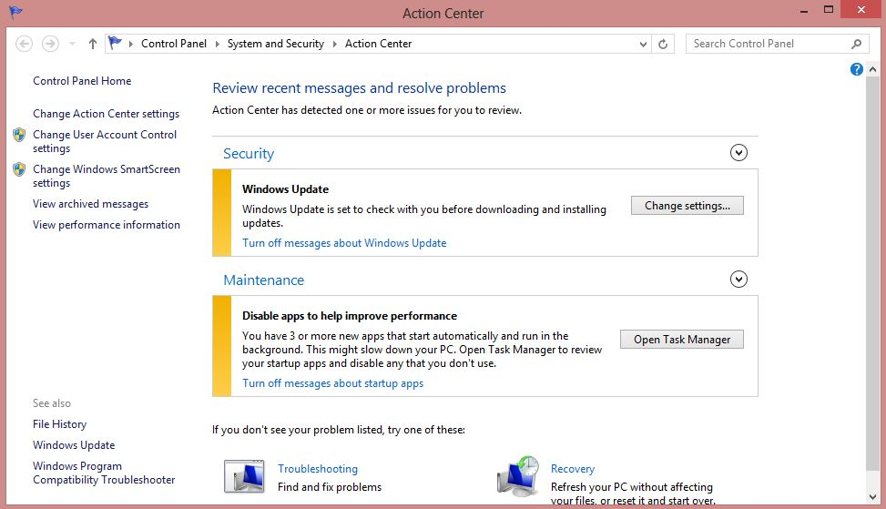 Action Center in Windows 8