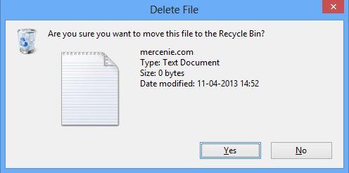 Delete Confirmation Message on Windows 8
