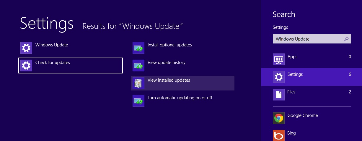 Install and remove updates from Windows 8