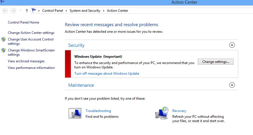 Windows Update message at action Center of Windows 8