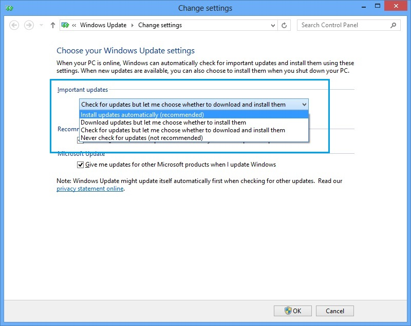 Update Setting of Windows 8