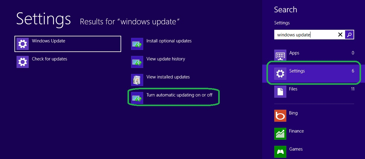 Windows Update Setting for Windows 8