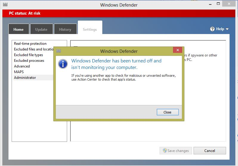 Confirmation message after turning off the Windows defender in Windows 8