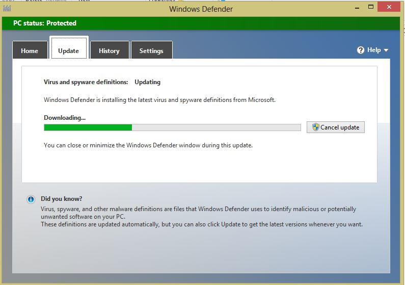 Updates are downloading and installing in the Windows defender of Windows 8