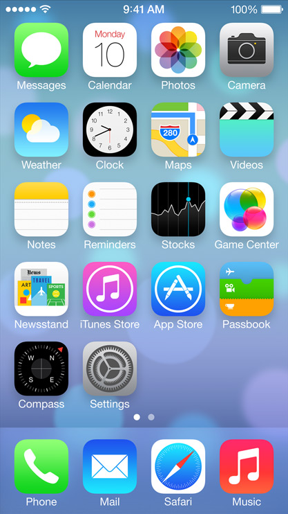 iOS 7 Home Screen Falt Design