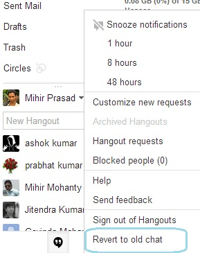 Revert to classic chat style from hangouts in Gmail