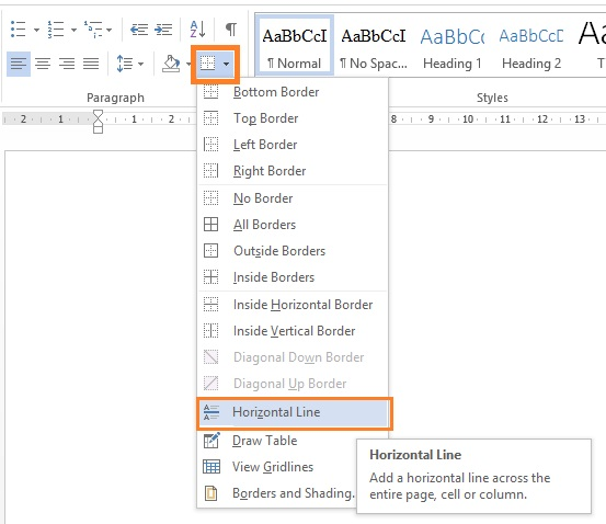 Draw Horizontal line in Microsoft Office Word 2013 document