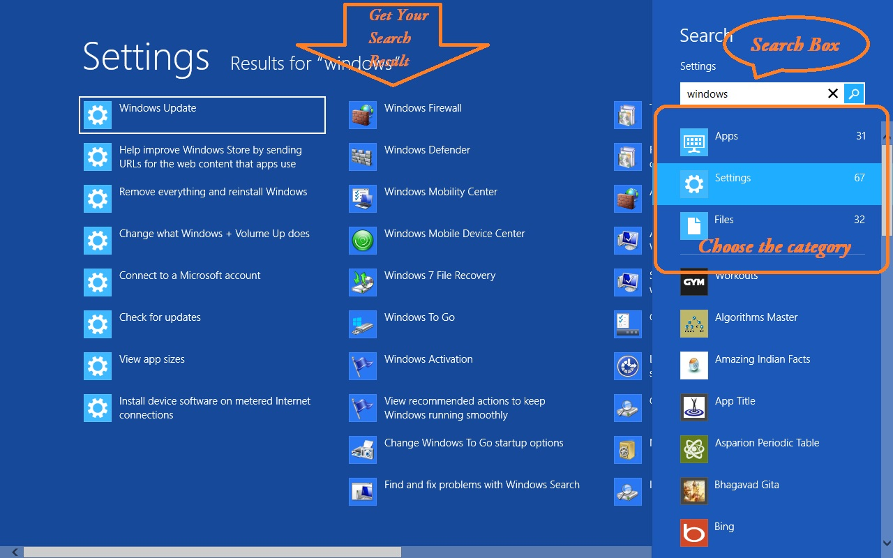 Get The Best Search Result In The Start Screen Search Box Of Windows 8