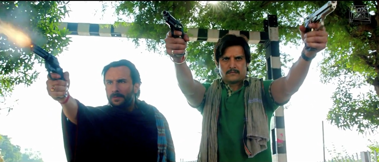 Saif Ali Khan and Jimmy Shergill with Guns on Bullett Raja Trailer